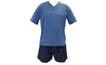 Mens Knit Top & Woven Short PJ Set